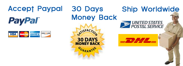 We accept Paypal,30 days money back guaranteed and can ship to worldwide.
